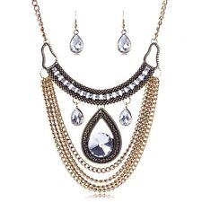 TOP FASHION GOLD RHINESTONE BOHO STATEMENT NECKLACE/BIB/COLLAR & EARRING SET -UK