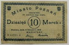 More details for 🍀 🇵🇱 poland ticket - bill 10 mark.city of poznaŃ *1919* very rare . no 33225