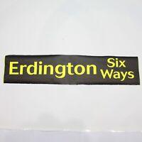 Erdington Six Ways bus blind destination vintage screen printed tyvek Birmingham