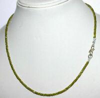 "Green Zircon 3mm Round Cut Beads 925 Sterling Silver 18"" Strand Necklace KIJ665"