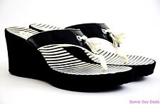 Clarks Womens Sandals Yacht Flash Wedges Platform Shoes 26065867 Black Thongs 6