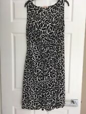 WOMENS DIANA FERRARI, SLEEVELESS SMART DRESS SIZE L, BLACK/WHITE PATTERNED NWOT