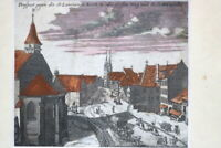 Kupferstich altkoloriert Nürnberg. Prospect; St Laurentzen Kirche um 1750