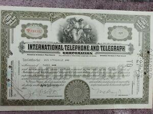 International Telegraph & Telephone Corp.  Aktien 1930 - die älteste ITT-Aktie !