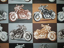 MOTORCYCLE BIKER MOTORCYCLES BIKER FOR LIFE SQUARES TAN BLK COTTON FABRIC FQ