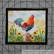 BonEful Fabric FQ Cotton Quilt Old Applique Red Rooster Chicken Yellow Sunflower
