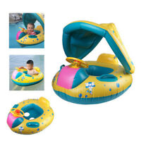 Inflatable Mother & Baby Swim Ring Float Raft Seat Swimming Pool Sunshade Boat