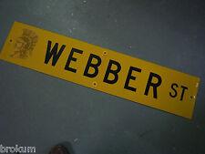 "Vintage ORIGINAL WEBBER ST STREET SIGN 42"" X 9"" BLACK LETTERING ON YELLOW"
