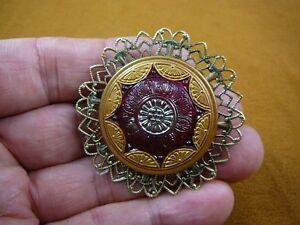 (Z26-21) red gold scalloped star flower Czech glass button filigree pin brooch