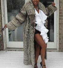 Fab Designer Full length Spiral sleeve gray Silver Fox Fur Coat Jacket S-M 4-12