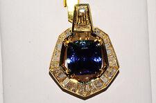 """$45,800 14.90Ct Natural """"AAA"""" Tanzanite & Yellow & White Diamond Pendant 18K YG"""