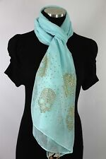 B117 Small Skull Gold Metal Studded Pastel Blue Shawl Scarf Unique Boutique