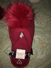 New Victoria Secret Pom Pom Slippers Red Small 5-6