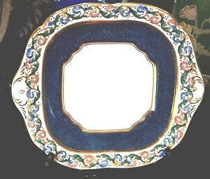 E Hughes And Co Powder Blue And Leaf Scroll Cake Plate