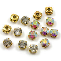 *AAA* GOLD SEW ON CLEAR & AB CRYSTAL GLASS RHINESTONES *6 SIZES* DIAMANTE GEMS