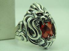 Turkish   Handmade  925 Sterling Silver LİON Ruby Mens Ring Sz 11 us  Free Rsz