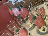 Set Of 6 Vtg Hand Painted Pink Crab Apple Glasses With Pitcher In Original Box