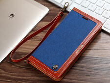 Fashion Flip Magnetic Leather + Denim Wallet Card Slot Stand Case Cover Bumper