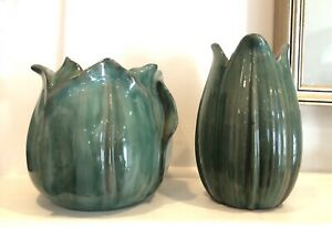 Set of 2 Vintage Stangl Vases Terra Rose Tulip Green Leaf American Art Pottery