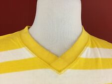 Red Ape Brand Yellow Striped V-Neck Shirt Mens 2XL 100% Cotton