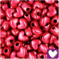 50 Red Pearl Heart Shape 12mm Pony Beads Top Quality Pony Beads *3 for 2*