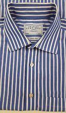 CHARLES Tyrwhitt NON Iron SHIRT 16 1/2 34 Striped BLUE White MENS French CUFFS**