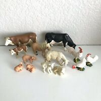Schleich Retired Lot of 13 Farm Animals Cow Pig Pony Sheep Rooster Figurines Toy