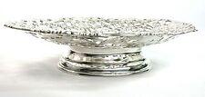 Vintage Silver Plated Fruit Bread Basket Pierced Foliate Ornament Pedestal