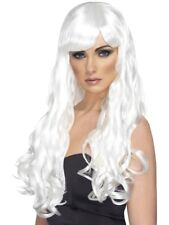 Long White Curly Desire Wig Ladies Glamour Fancy Dress Accessory
