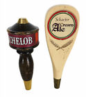 Vintage Wooden Brass Michelob and Schaefer Cream Ale Beer Tap Handles Kegerator