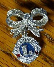 Vintage Lions Club International Pin Rhinestone Enamel Signed ORA Ralph Singer