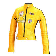 New Women Kill Bill Movie Yellow Motorcycle Soft Cowhide Leather Jacket All Size