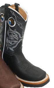 Kids Toddler Western Cowboy Genuine Leather Boots pull up Closure Handcrafted
