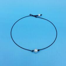 Women Pearl Handmade Necklace Genuine Leather Cord Choker Jewelry New