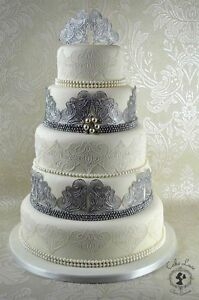 2 STRIPS of Candy Heart Ready Made Wedding Cake Lace