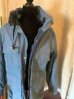 Woolrich Womens Coat Blue Long Heavy Hooded Sz Medium Full Zip Parka Jacket