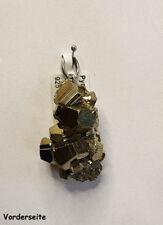 UNIKATE! Edelstein Anhänger Pyrit, gold metallic, Silber Schlaufe, Peru, Spanien