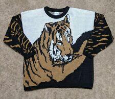 Vintage Tiger Crewneck Sweater All Over Front Back Animal Print USA Made Large