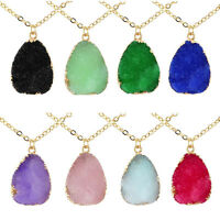 Natural Druzy Crystal Gems Pendant Necklace Quartz Clusters Geode Women Jewelry