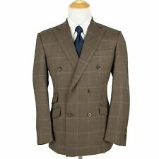 NWOT Phineas Cole Brown S120 Wool Windowpane Dbl Breasted Side Tabs Suit 42L
