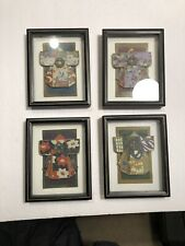"Set Of 4 Framed Kimono Artwork 7""x5.5"""