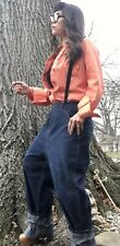 Vtg 40s-50s Over The Top Dungees High Waisted Workwear Baggy Jeans DEADSTOCK