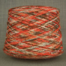 SPACE DYED SOFT BRUSHED YARN BIG 800g CONE 16 BALLS RED ORANGE WHITE MOHAIR FEEL