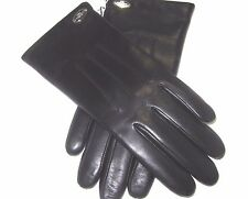 Coach Ladies Black Sheepskin Leather Gloves Merino Wool 85876 Size 7.5 NWT $99