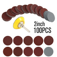100X 2'' 75mm Mixed Sander Sanding Discs 80-3000 Grit Pads Hook & Loop Sandpaper