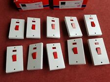 10 x Contactum 45A Tall DP Red Switch 1G Neon vertical 1 Gang Cooker Switches
