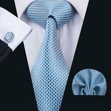 Blau Weiß Schlangenoptik Seide Krawatte Set Einstecktuch Knöpfe Hochzeit K455
