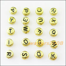 100 New Charms Gold Acrylic Plastic Black Letters Spacer Beads 7mm
