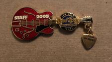 Hard Rock Hotel & Casino Tampa Team Member STAFF red Guitar Pin, 2005