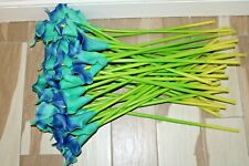 Artificial Calla Lily Flowers 45 Aqua Blue Large 23'' Real Touch Latex Bouquet